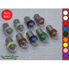 SGT Pinball LED Bulbs 6.3V #44/#47 Clear Dome Intense Brightness Twin SMD 2835 (Pack of 10) *Choose Colour*