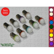 SGT Pinball LED Bulb 6.3V #44/#47 Frosted Dome Intense Brightness Twin SMD 2835 (Pack of 10) *Choose Colour*