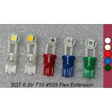 SGT Pinball LED Bulbs 6.3V T10 #555 Flex Extension SMD (Pack of 5) *Choose Colour*