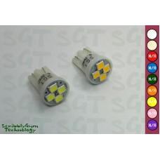 SGT Pinball LED Bulbs 6.3V T10 #555 Domeless 4xSMD3528 (Pack of 10) *CHOOSE COLOUR*