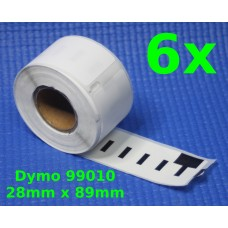 6 Rolls of 99010 Compatible White Labels for DYMO/Seiko LabelWriter 28mm x 89mm